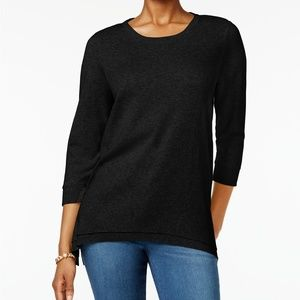 Style & Co Large Layered-Hem Tunic Black Pullover